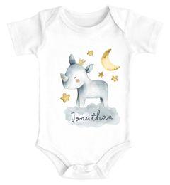 Baby Body mit Namen bedrucken lassen Tier-Motive Nashorn Löwe Elefant Watercolor kurzarm Bio Baumwolle SpecialMe®