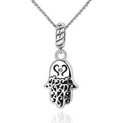 Damen Halskette Anhänger Hamsa Fatimas Hand 925 Sterling Silber Glücksbringer Autiga®