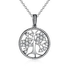 Damen Halskette Lebensbaum Anhänger Tree of Life 925 Sterling Silber Zirkonia Kristalle Autiga®