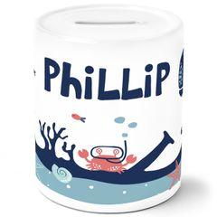 Kinder Spardose mit Namen Unterwasserwelt Tiere Wal Fisch Krebs Sparschwein Keramik SpecialMe®