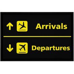 Fußmatte Flughafen Arrivals/Departures lustige Motive Geschenk Piloten rutschfest & waschbar Moonworks®