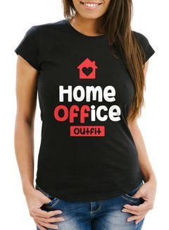 Damen T-Shirt Aufdruck Home-Office Outfit Arbeit zuhause Frauen Fun-Shirt Büro Spruch lustig Moonworks®