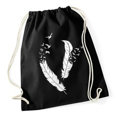 Turnbeutel Feder Vögel Feather BIrds Hipster Gymsac Stringbag Drawstring Autiga®