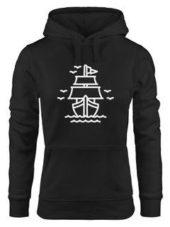 Hoodie Damen Schiff Schiffchen Sweatshirt Kapuze Kapuzenpullover Moonworks®