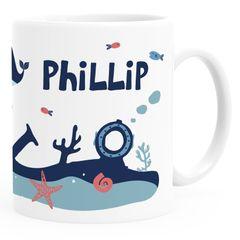 Kindertasse Kunststoff Unterwasserwelt Wal personalisierte Namenstasse für Kinder Jungen Mädchen SpecialMe®