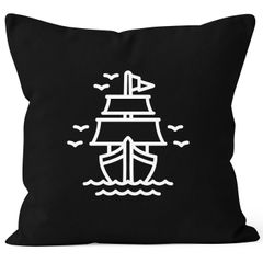 Kissenbezug Schiffchen Segeln Sailing Kissen-Hülle Deko-Kissen 40x40 Baumwolle Autiga®