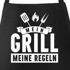 Grill-Schürze für Männer mit Spruch Mein Grill meine Regeln Grillregeln grillen BBQ Barbeque Baumwoll-Schürze Küchenschürze Moonworks®