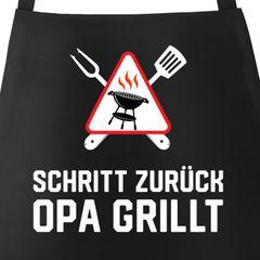 Grill-Schürze für Männer mit Spruch Schritt zurück {style_variation} grillt Baumwoll-Schürze Grill-schürze Küchenschürze Moonworks®