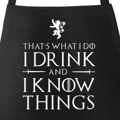 Grill-Schürze für Männer mit Spruch - I drink and I know things Küchen-Schürze Moonworks®