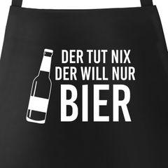 Grill-Schürze für Männer mit Spruch Der tut nix, der will nur Bier Baumwoll-Schürze Moonworks®