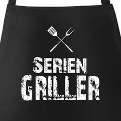 Grill-Schürze für Männer mit Spruch Seriengriller Baumwoll-Schürze Küchenschürze Moonworks®