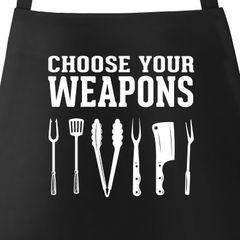 Grill-Schürze für Männer mit Spruch Grillen Choose your Weapons Moonworks®