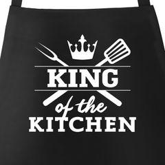 Grill-Schürze für Männer mit Spruch King of the kitchen Küchenschürze Moonworks®