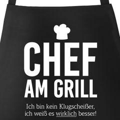 Grill-Schürze für Männer mit Spruch Chef am Grill Ich bin kein Klugscheißer, ich weiß es wirklich besser Küchenschürze Moonworks®