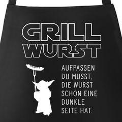 Grill-Schürze für Männer mit Spruch Grill Wurst Aufpassen du musst, die Wurst schon eine dunkle Seite hat Küchenschürze Moonworks®