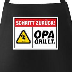Grill-Schürze für Männer mit Spruch Schritt zurück Opa grillt Warnschild Warnung Küchenschürze Moonworks®