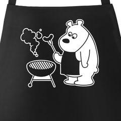Grill-Schürze für Männer mit grillendem Bär - Bear Grills Moonworks®