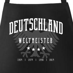 Grill-Schürze für Männer Deutschland vier Sterne 54 74 90 2014 WM Fußball Weltmeistser Adler Baumwoll-Schürze Küchenschürze Moonworks®