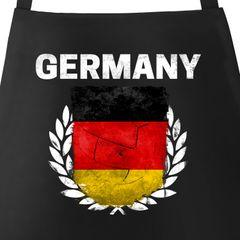 Grill-Schürze für Männer Fußball WM 2018 Deutschland Germany Flagge Vintage Baumwoll-Schürze Küchenschürze Moonworks®