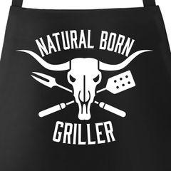 Grill-Schürze für Männer mit Spruch Natural Born Griller Baumwoll-Schürze Küchenschürze Kochschürze Grillen Barbecue BBQ Fleisch Sommer Moonworks®