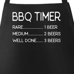 Grill-Schürze für Männer mit Spruch Grillschürze BBQ Timer Bier Baumwoll-Schürze Küchenschürze Moonworks®