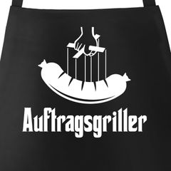 Grill-Schürze für Männer mit Spruch Auftragsgriller Wurst Bratwurst Grillfather Baumwoll-Schürze Küchenschürze Moonworks®