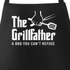 Grill-Schürze für Männer mit Spruch The Grillfather Grillbesteck Fun-Shirt für Männer und Paten Geschenk lustig Grillschürze Baumwoll-Schürze Küchenschürze Moonworks®