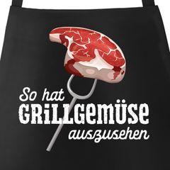 Grill-Schürze für Männer mit Spruch So hat Grillgemüse auszusehen Spruch lustig Grillen Baumwoll-Schürze Küchenschürze Moonworks®