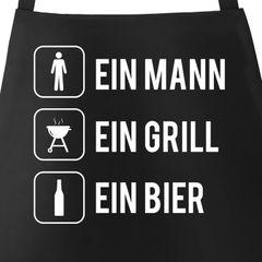 Grill-Schürze für Männer mit Spruch Ein Mann ein Grill ein Bier Baumwoll-Schürze Grillen Barbecue BBQ Fleisch Sommer Moonworks®