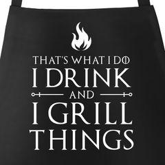 Grill-Schürze für Männer mit Spruch I drink and I grill things Grillschürze Baumwoll-Schürze Küchenschürze Kochschürze Grillen Barbecue BBQ Fleisch Sommer Moonworks®