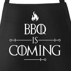Grill-Schürze für Männer mit Spruch BBQ Is Coming Barbecue Grillen Spruch lustig Baumwoll-Schürze Küchenschürze Moonworks®