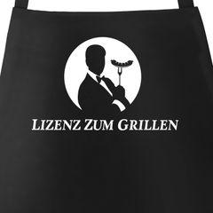 Grill-Schürze für Männer mit Spruch Lizenz zum Grillen lustig Agent Parodie Baumwoll-Schürze Moonworks®