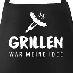 Grill-Schürze für Männer mit Spruch Grillen war meine Idee Spruch lustig Bratwurst Baumwoll-Schürze Küchenschürze Moonworks®