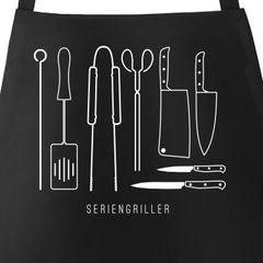 Grill-Schürze für Männer mit Spruch Seriengriller Grillbesteck Messer Baumwoll-Schürze Küchenschürze Moonworks®