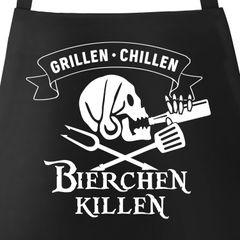 Grill-Schürze für Männer mit Spruch Grillen Chillen Bierchen Killen Pirat Skull Bier Spruch lustig Baumwoll-Schürze Küchenschürze Moonworks®