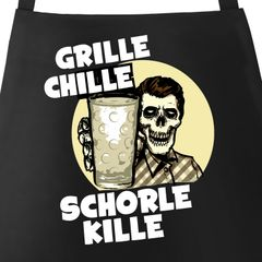 Grill-Schürze für Männer mit Spruch Grille Chille Schorle kille Spruch Skull Dubbeglas Baumwoll-Schürze Küchenschürze Moonworks®