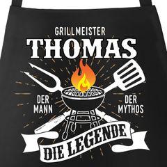Grill-Schürze mit Spruch personalisierbar personalisierbar Grillmeister [Wunschname] der Mann, der Mytos, die Legende Moonworks®