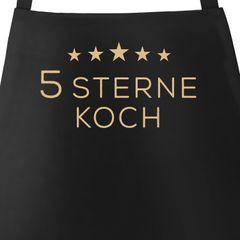 Kochschürze Grill-Schürze für Männer Spruch Aufdruck 5 Sterne Koch Baumwoll-Schürze Küchenschürze Moonworks®