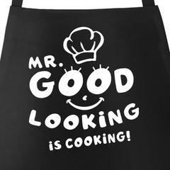 Kochschürze Grill-Schürze für Männer Spruch Mr. Good looking is cooking Küchenschürze  Baumwolle Moonworks®