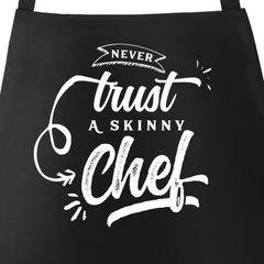 Grillschürze für Männer mit Spruch Never trust a skinny Chef Moonworks®