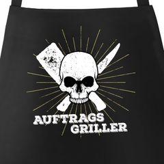 Herren Grillschürze Auftragsgriller Totenkopf Skull Küchenschürze Barbecue-Schürze Fun-Schürze Moonworks®
