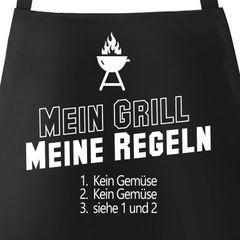 Grill-Schürze mit Spruch Mein Grill  meine Regeln kein Gemüse Moonworks®