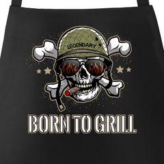 Born To Grill Grill-Schürze für Herren mit Spruch Totenkopf Moonworks®