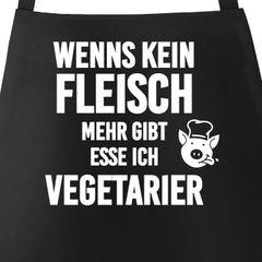 Wenn es kein Fleisch mehr gibt esse ich Vegetarier Grill-Schürze mit Spruch Moonworks®