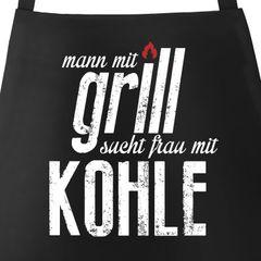 Grill-Schürze Mann mit Grill sucht Frau mit Kohle Moonworks®