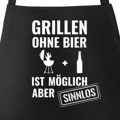 Grill-Schürze für Männer mit Spruch Grillen ohne Bier ist möglich aber sinnlos Grillen Baumwoll-Schürze Küchenschürze Moonworks®