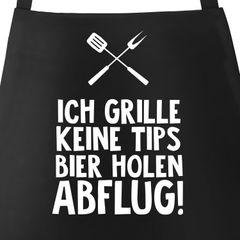 Grill-Schürze für Männer mit Spruch Ich grille keine Tipps - Bier bringen- Abflug! Baumwoll-Schürze Küchenschürze Moonworks®