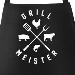 Grill-Schürze für Männer mit Spruch Grillmeister Hipster Kreuz Grillen Fun-Shirt Grillen Baumwoll-Schürze Küchenschürze Moonworks®