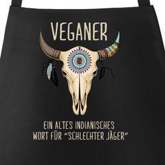 Grill-Schürze für Männer mit Spruch Vegetarier / Veganer Schlechter Jäger Spruch Skull Baumwoll-Schürze Küchenschürze Moonworks®