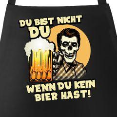 Grill-Schürze für Männer mit Spruch Du bist nicht du wenn du kein Bier hast Baumwoll-Schürze Grillen Barbecue BBQ Moonworks®